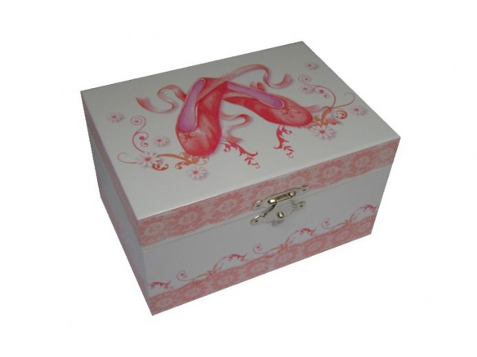 Childrens Musical Jewellery Box Dulcie 1325 with ballet slipper and ribbon design.